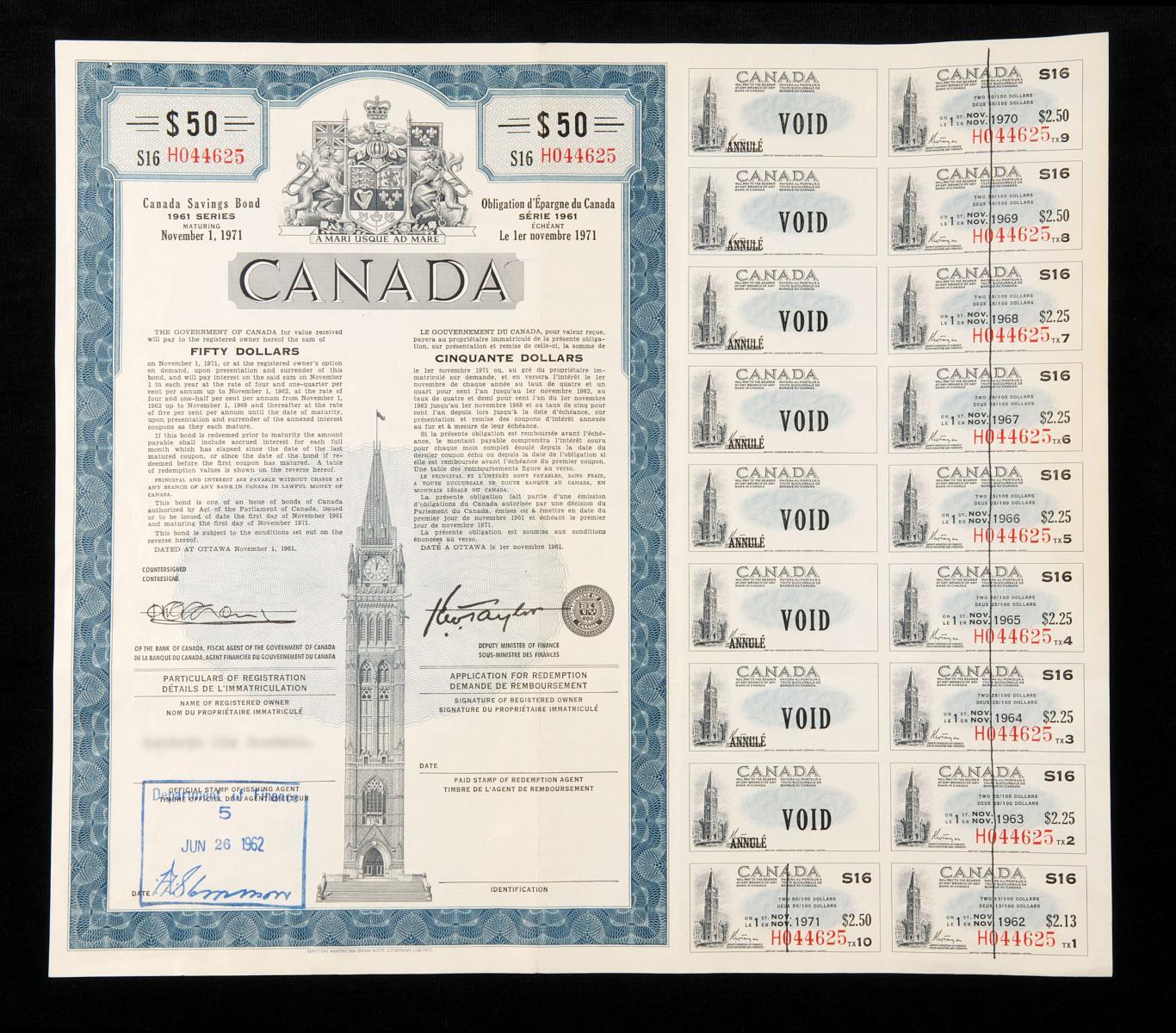 Illustration d'un certificat avec coupons d'intérêts émis entre 1946 et 1976.
