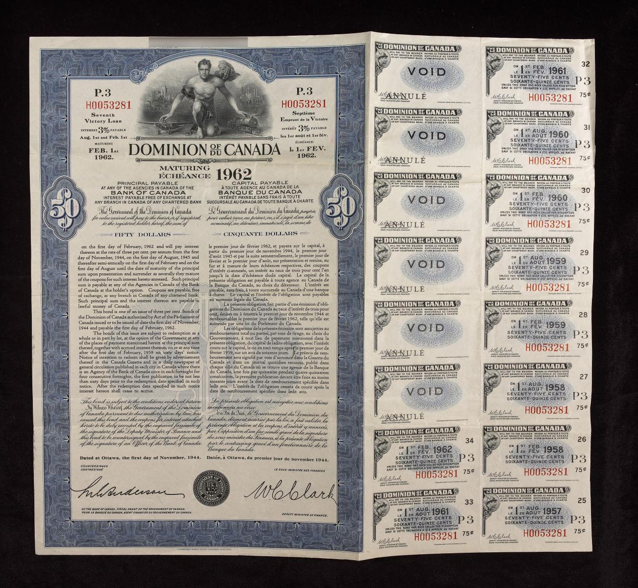 Illustration d'un certificat d'emprunt de la Victoire.
